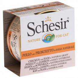 Schesir Cat Frango com Presunto em molho natural wet lata