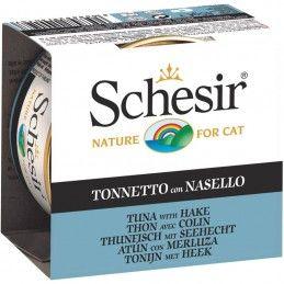 Schesir Cat Atum com Pescada em gelatina wet lata