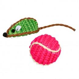 Trixie ratinho e bola sisal com chocalho cores sortidas
