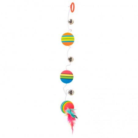 Trixie 3 bolas arco iris com elástico, penas e guiso