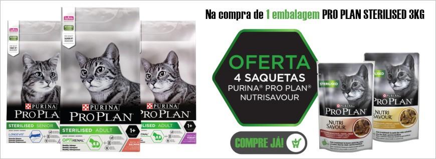 Na compra de 1 embalagem Pro Plan cat sterilised 3kg oferta 4 saquetas Pro Pla Nutrisavour