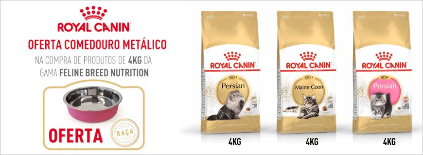 Na compra de produtos de 4kg da gama Royal Canin Gato Raças, OFERTA comedouro metálico!