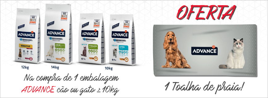 Na compra de 1 embalagem Advance cão ou gato acima de 10kg oferta de 1 toalha de praia