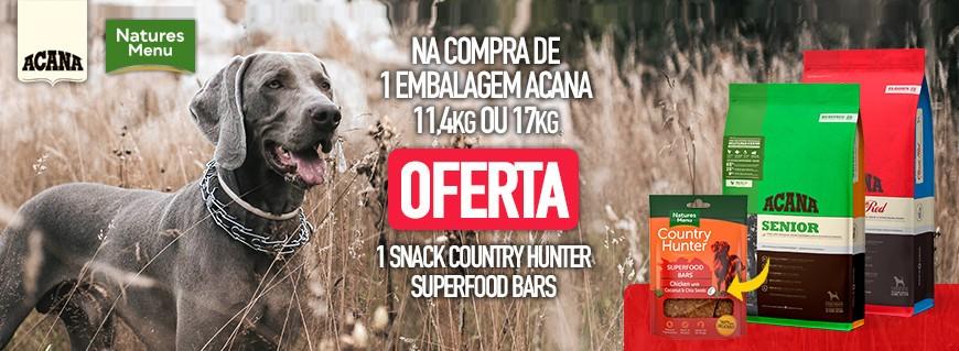 Na compra de 1 embalagem Acana de 11,4kg ou 17kg, oferta snack Natures Menu Super Food
