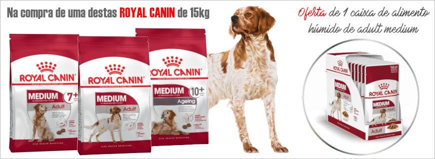 Na compra de embalagens Royal canin Medium de 15kg, oferta 1 caixa de alimento húmido Adult Medium!